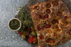 Foccacia brød med tomater, Café Freunde